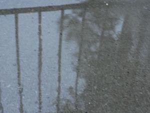 Rain splashing the stoop
